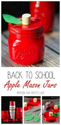 Apple Mason for Teacher - Jennifer Mullica Apple Mason for Teacher Apple Mason Jars Mason Jar Gifts, Mason Jar Diy, Gift Jars, Small Mason Jars, Wine Bottle Crafts, Jar Crafts, Kids Crafts, Apple Mason Jar, Pots
