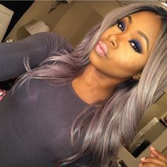 Love this gray and lilac/ lavendar hair color