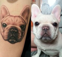 What a precious portrait! Tattoo via Dog Tattoos, Tatoos, Body Piercing, Piercings, French Bulldog Tattoo, Gorgeous Body, Gisele, Cringe, Tatting