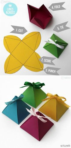DIY WEDDING ALERT! pyramid packaging for wedding favours, would look even better in metallic or pearl card.                                                                                                                                                      More