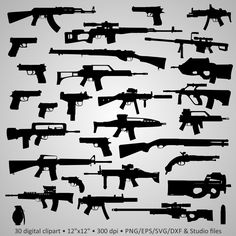 Buy 2 Get 1 Free! Digital Clipart Silhouettes Guns, Weapon AK-47 SVD M-16 Uzi Pistol Glock Beretta black images png/eps/svg/dxf/studio files by PeppyPapers on Etsy https://www.etsy.com/listing/234220066/buy-2-get-1-free-digital-clipart