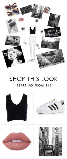 """Black and white 🥚🎱"" by lologray ❤ liked on Polyvore featuring Sans Souci, adidas, Lime Crime, Alasdair and Topshop"