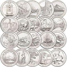 2010 Quarter to 2013, Complete National Parks Quarter Set 2010 - 2013 P&D 40 Coins Brilliant Uncirculated