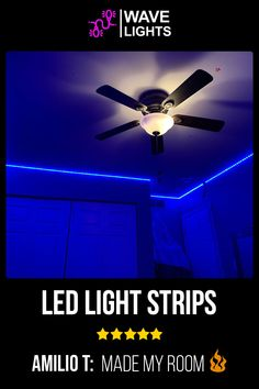 Amilio T. room is all lit up and inviting with the blue shade of LED strip light. Pretty inviting isnt it? Order now! Led Light Strips, Led Strip, Alexa Echo, App Control, Cutting Tables, A Whole New World, Get The Party Started, Gaming Setup, Free Wifi