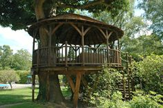 Our Treehouse Construction Work Tree House Deck, Lakeside Park, Tropical Architecture, Blue Forest, Country House Interior, Parking Design, Decks And Porches, Pavilion, Ideal Home