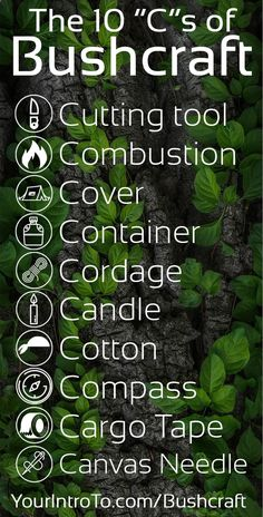 The 10 Cs of Bushcraft A great overview of what a good bushcrafter will have. Also contents of a bug out bag (b.o.b.). Dave Canterbury came up with these. #bushcraft #survival #woodsman #woodslore #camping