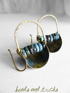 Panareddi. Brass, heishi turquoise, blue patina earrings. {Handmade by Beads and Tricks}