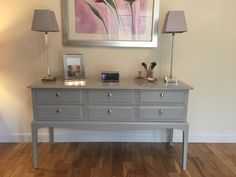 "STAG 6 drawer dressing/console table upcycled with Farrow & Ball ""Lamp Room"" mid grey with chrome & diamante handles."