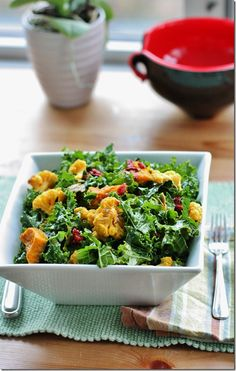 Bitter, Salty, Sour, and Sweet. Kale Salad with Roasted Kabocha Squash and Cauliflower, Candied Pumpkin Seeds, Goji Berries, and Turmeric Lemon Vinaigrette Recipe