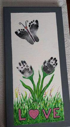 Flower handprunts, butterfly footprints