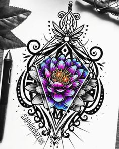Traditional Drawings and Digital Art Coloring. Click the image, for more art by Victoria Müller Lotus Mandala Tattoo, Tattoos Mandala, Mandala Tattoo Design, Mandala Art, Colorful Mandala Tattoo, Octopus Tattoos, Mandala Drawing, Cool Art Drawings, Tattoo Drawings