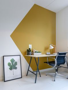 two paintings to awaken the white interior, modern office space in . deux peintures pour réveiller l& blanc, espace bureaux moderne en… two paintings to awaken the white interior, modern office space in white and golden yellow ocher Modern Home Offices, Modern Office Design, Modern Homes, Office Designs, Home Office Paint Design, Paint Wall Design, Home Office Paint Ideas, Design Offices, Workplace Design
