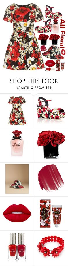 """""""All Floral"""" by tiffanyelinor ❤ liked on Polyvore featuring Dolce&Gabbana, Hervé Gambs, Origins, Lime Crime, Claus Porto, By Terry, Kim Rogers, floral, floralprint and floradress"""