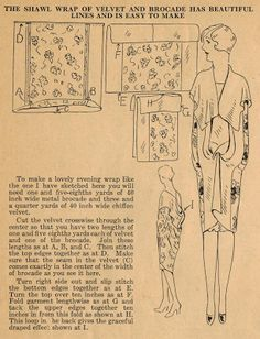 Home Sewing Tips from the 1920s - A Luxurious Shawl Wrap for your Evening Frocks