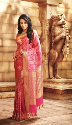 Lovely pink and gold pattu saree.