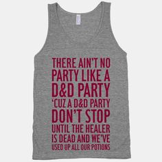 Ain't No Party Like A D&D Party $28.00 Large Women's Athletic Tee in Heathered Grey