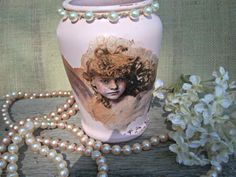 Upcycled Vase Altered Pink Vase Shabby vase Angel by AngelandAnnie, $24.00