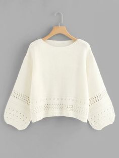 To find out about the Eyelet Insert Lantern Sleeve Sweater at SHEIN, part of our latest Sweaters ready to shop online today! White Knit Sweater, Cable Knit Sweaters, Kelly Wearstler, Sweatshirt Refashion, Casual Sweaters, Color Block Sweater, Pullover, Pulls, Types Of Sleeves