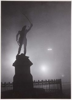 """valinaraii: """" Brassaï (Gyula Halász): The statue of Marshal Ney in the fog source """" Brassai, French Photographers, Light And Shadow, 21st Century, Old Photos, Mists, Statue Of Liberty, Art Photography, Fine Art"""