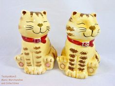 These are such cute kitty salt shakers!  Tabby Striped Cat Salt Pepper Shakers GKRO Smiling Kitty Both Stoppers Ceramic #GKROCKAO