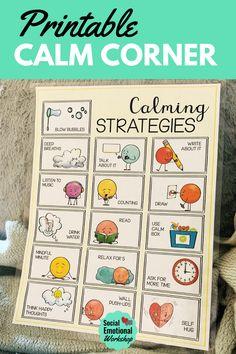 Calm Corner Printables for the Classroom or Home Self Regulation Strategies, Emotional Regulation, Middle School Classroom, Future Classroom, Calm Classroom, Space Classroom, Classroom Decor, Calm Down Corner, Conscious Discipline