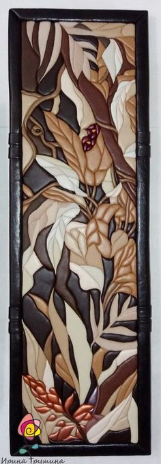 Kinusaiga - patchwork without a needle - Kinusaiga made of leather Intarsia Woodworking, Hanging Wall Art, Fabric Painting, Sculpting, Quilts, Glass, Wall Paintings, Leather, Crafts