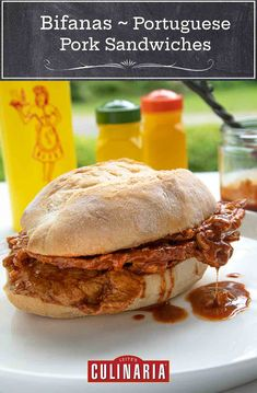 These traditional Portuguese pork sandwiches boast strips of tender marinated pork, a white wine and paprika sauce, and soft, airy rolls. Makes you want to try one, doesn't it? #bifanas #portuguese #sandwiches #pork Slider Sandwiches, Pork Sandwich, Sliders, Portuguese Pork Recipe, Portuguese Food, Pork Recipes, My Recipes, Favorite Recipes, Pork Cutlets