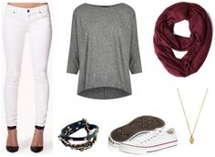 White pants, slouchy grey shirt, white converse, oxblood infinity scarf