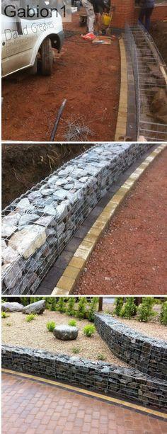 curved gabion wall built using 1050 x 450 x 375mm welded mesh gabions from http://www.gabion1.co.uk