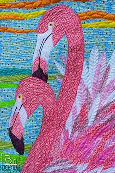 Stunning Pink Flamingos quilt by Karolina Bąkowska of B-craft.pl using a variety of #Aurifil 50wt threads for the lovely quilting!   To see more of this work please visit http://b-craft.pl/rozowa-pasja/