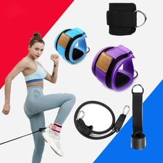 Resistance Durable Band D-ring Ankle Straps Workouts Cuffs C5S