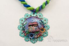 Art Yarn Necklace Fiber Necklace Statement by DeidreDreams on Etsy