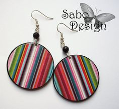 Items similar to COLORFUL STRIPES decoupaged earrings blue red yellow green pink olive perfect gift on Etsy Wooden Earrings, Wooden Jewelry, Diy Earrings, Jewelry Ideas, Diy Jewelry, Handmade Jewelry, Jewelry Design, Diy Decoupage Earrings, Red Green