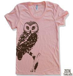 Womens URBAN OWL T-Shirt american apparel S M L XL (16 Colors Available). via Etsy.