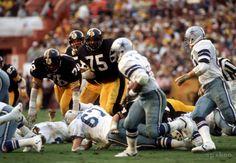 Jack Lambert (58), Joe Greene (75), and Dwight White (78), Pittsburgh Steelers, Super Bowl XIII