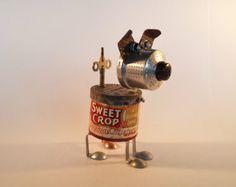Found Object Robot Dog - Steampunk Sculpture - Repurposed Art - Vintage Kitchen - Junk Bot -    Edit Listing  - Etsy