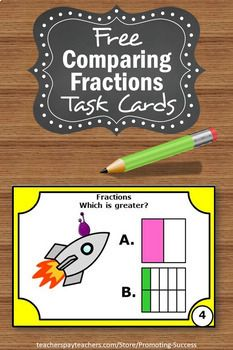 You will download six free comparing fractions task cards for your 2nd or 3rd grade and special education math students.These could also be used as exit tickets.Ideas for comparing fractions games and activities are included, such as a scavenger hunt or SCOOT. #fractions3rd #comparingfractions #free #freebies #teacherfreebies #comparingfractions3rdgrade #comparingfractionsactivities #comparingfractions3rdgradeactivities #learning #lesson #teachers #products Fraction Games, Fraction Activities, Math Activities For Kids, Fun Math, Teacher Resources, Math Games, Teaching Ideas, Comparing Fractions, Teaching Fractions