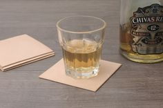 Personalized Square Leather Coasters Vegetable-tanned by khadesign
