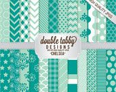 Instant Download Digital scrapbook paper pack - Green, White, chevron, stripes, damask - CHELSEA