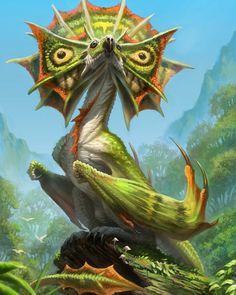 Frilled Tropic Wyvern by Brian Valeza Artis Monster Art, Monster Concept Art, Fantasy Monster, Mythical Creatures Art, Alien Creatures, Magical Creatures, Creature Concept Art, Creature Design, Fantasy Animal