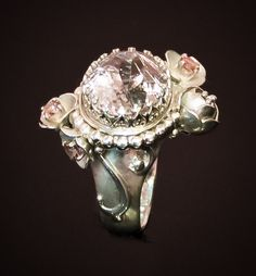 Silver ring with kunzite and pink tourmaline by Laura Cunha