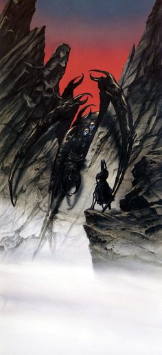 The Lord of the Rings - John Howe Art - Morgoth speaks to the Ungoliant