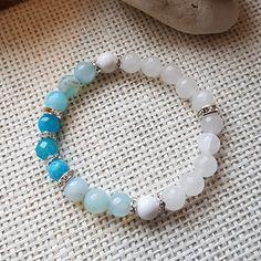 jadeit ice a bílý,kalcit, náramek Beaded Bracelets, Jewelry, Bangle Bracelets, Jewlery, Jewerly, Pearl Bracelets, Schmuck, Jewels, Jewelery