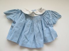 Vintage 70s Baby Girl Smocked Dress Size 3 Months Blue White Gingham by MrsDinkerson on Etsy