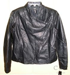 Alfani Petites NEW Black Faux Leather Motorcycle Jacket 6P 6 Asymmetrical Zip