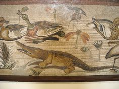 ART - Crocodile and duck detail from Mosaic depicting a Nilotic scene from the House of the Faun in Pompeii.