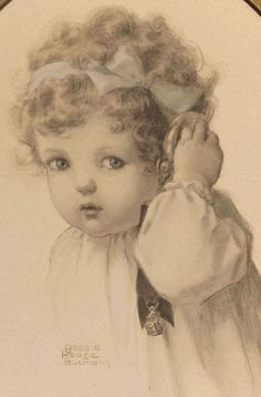 """The Original Print, """"Hearing"""" (1909), from The Child's Five Senses Series, by American artist - Bessie Pease Gutmann (1876-1960)"""