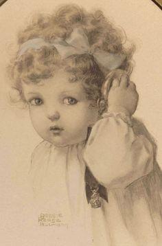 """Bessie Pease Gutmann Original Print """"Hearing"""" - 1909"""
