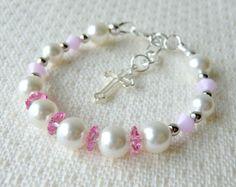 Pulsera de bebé rosa para bautismo o por CharlotteJewelryBox