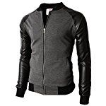 H2H MENS SLIM FIT VARSITY BASEBALL BOMBER JACKET WITH ZIPPER CLOSER CHARCOAL US 2XL/Asia 3XL (KMOJA0126)